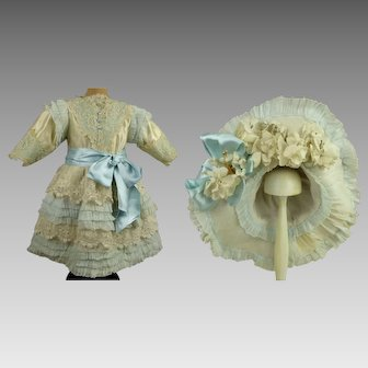 Stunning Silk and Lace antique dolls Dress with a wonderful matching wired Hat