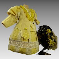 Hard to find Wonderful Yellow French Silk Antique Doll's Dress with original straw hat