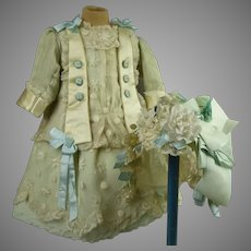 Wonderful French aqua silk and lace one-piece antique doll dress with matching gauze bonnet