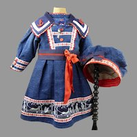Lovely French blue linen mariner/sailor antique dolls dress  with a matching beret