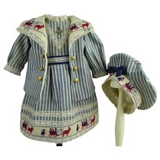 Lovely French striped cotton mariner/sailor antique dolls suit/dress with a matching beret.
