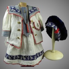 Gorgeous French five-piece mariner/sailor antique doll suit