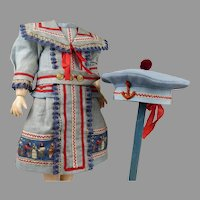 Gorgeous light blue mariner/sailor antique dolls dress with  matching beret.