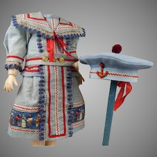 Gorgeous light blue mariner/sailor antique dolls dress with  matching beret.