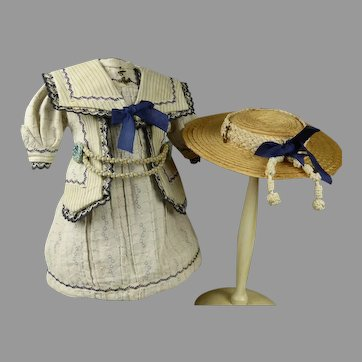 Wonderful French patterned cotton mariner/sailor antique doll dress and antique sailor straw hat