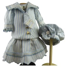 Wonderful French striped satin and taffeta mariner/sailor antique dolls suit with a matching beret.