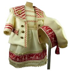 Wonderful creamy wool French antique doll sailor/mariner suit with matching beret