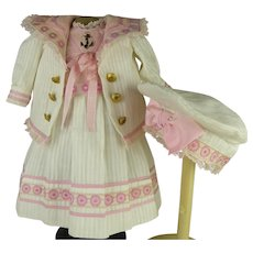 Lovely French white silk pique mariner/sailor antique dolls suit/dress with a matching beret