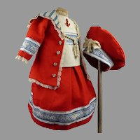 Lovely French four-piece red wool mariner/sailor antique dolls suit with a matching beret.