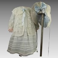 Four-piece Antique Original French costume : tullle coat, pinafore dress, underdress and bonnet ca1880