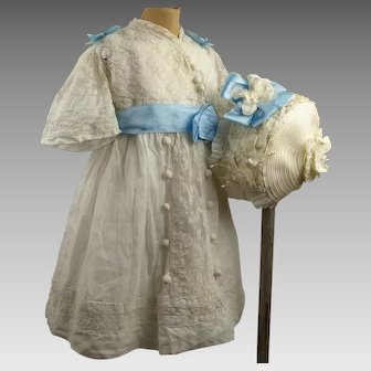 Wonderful Original Antique white doll's dress with exceptional flowered cap, ca 1890