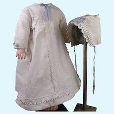 Antique Original White Pique Dolls Dress with original pique bonnet cap  from ca 1870