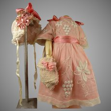 Four-piece Antique Original French tulle ensemble with wonderful embroidery appr. 1890