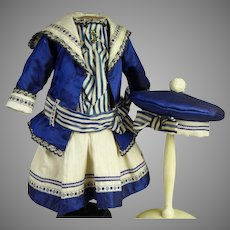 Wonderful Three- piece French silk mariner/sailor antique doll costume with matching beret