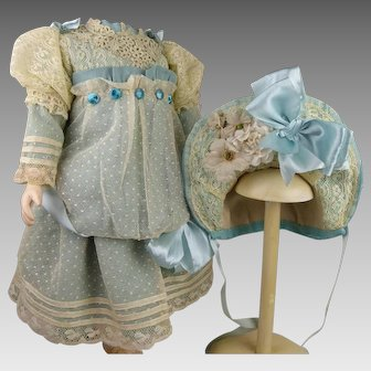 Wonderful turquoise silk and dotted gauze antique dolls dress with a beautiful matching hat