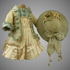 French silk and muslin antique dolls Couturier Costume/Dress with matching original Antique Felt Hat