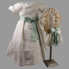 Antique Original two piece white costume, pique dress and waxed bonnet from ca 1870