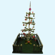 """Larger 24"""" (60cm) Antique Original Fenced German Paper Feather Christmas Tree"""