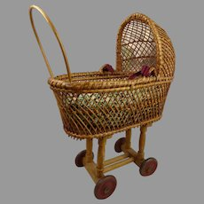 Antique Original doll wicker pram/carriage, first part of the 20st century