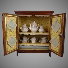 Marvelous  antique oak  French Dolls Art Nouveau Cabinet/Armoire with tea service