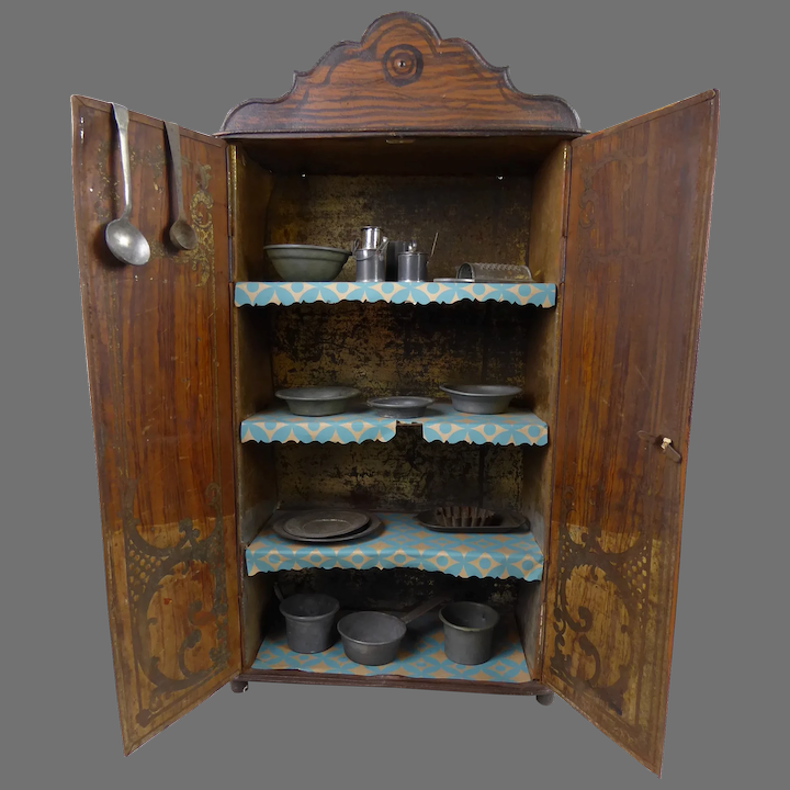 Rare Early Antique Tin Plate Kitchen Cupboard Cabinet With Early Stairway To The Past Ruby Lane