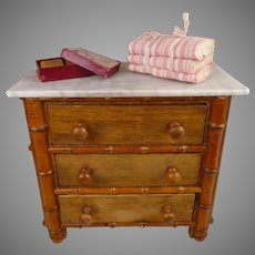 Antique Original French Faux-Bamboo Chest of Drawers with soap box and towels