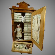 Marvelous Antique French Faux-Bamboo Linen Cabinet with Flapper doll