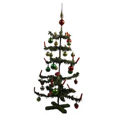 """23,6"""" (60cm) Antique Original German Paper- Feather Christmas Tree with glass balls, peak and wax candles"""