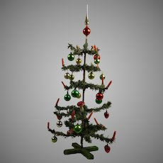 "23,6"" (60cm) Antique Original German Paper- Feather Christmas Tree with glass balls, peak and wax candles"