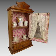 Sweet small wooden Antique French Cabinet with Tea Service