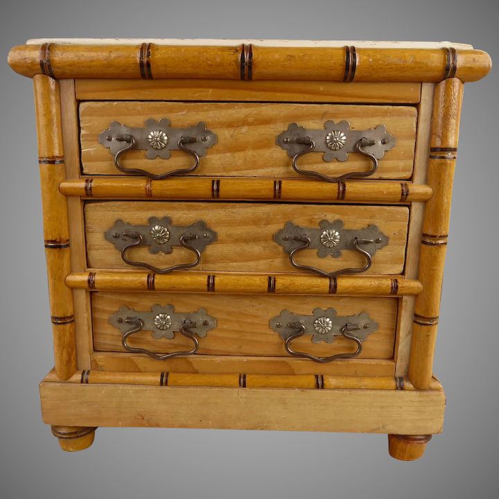sports shoes a14ac 66f0b Wonderful MARKED antique French Faux Bamboo Dolls Chest of Drawers