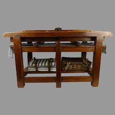 MUSEUM Piece : Early Rare Original Antique pine wood Doll-Sized Mangle table from the  beginning of the 19th century.