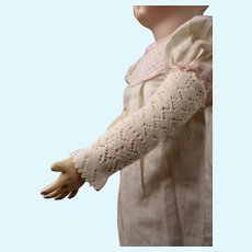 Hard to find antique pair of open weave mitts/mitaines for your Fashion Doll, Poupée or Bébé