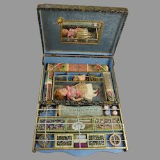 """Marvelous and rare French Antique doll's embroidery/sewing presentation box """"LA PETITE BRODEUSE"""" from ca 1900"""
