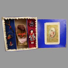 """Rare Antique French Doll Presentation Box with accessories, """"On the Beach"""""""