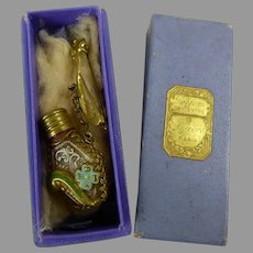Antique original perfume bottle with bar pin in its marked AU LOUVRE box for your Fashion Doll or Poupée