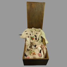 Marked AU BON MARCHÉ BOX with four-piece antique Original French Winter/Christmas Wool and Ermine doll ensemble
