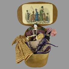 Early antique bentwood box with china doll  and antique trousseau from ca 1870