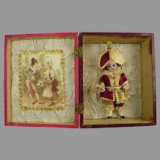 Adorable antique polichinelle mignonette in pink wooden presentation box