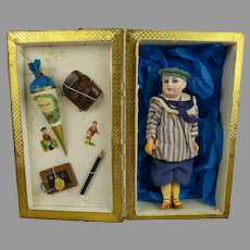 """6,3"""" (16cm) Antique French Sailor Doll in wonderful Presentation Box with School Accessories"""