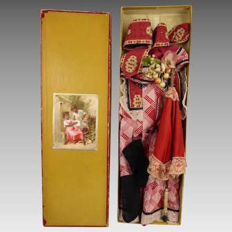 Marvelous  and Rare French Antique  Presentation Box  for your Bébé with Brown Complexion from ca 1890