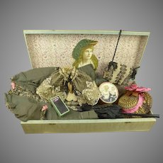Antique Original French Doll Costume Presentation Box for your early doll, ca 1870