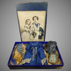 Exquisite early antique presentation box for your Fashion Doll or Poupee