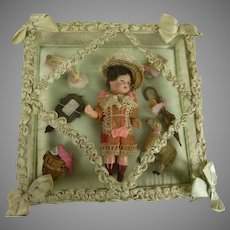 Sweet Antique French Glass Presentation Box with Antique Mignonette Doll and Accessories
