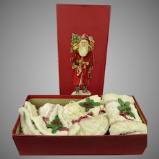 Gorgeous  Antique Christmas Presentation Box with  4 piece Antique  Winter/Christmas ensemble