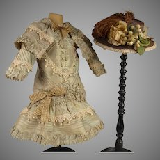 Stunning French three piece olive/turquoise silk antique dolls dress with  fine straw hat