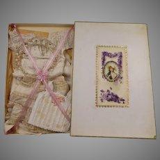 Exquisite Original Antique silk dolls Lingerie Set from ca 1880 in its wonderful  presentation box.