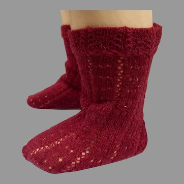 Pair of French burgundy fine cotton open weave socks for your antique doll
