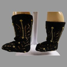 Pair of French black fine cotton embroidered open weave socks for your antique doll