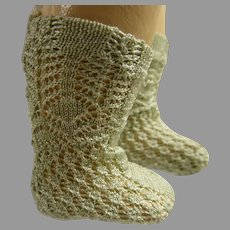 Pair of French soft olive green silk open weave socks for your antique doll